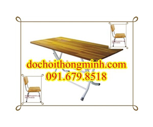 Bàn ghế gỗ cao su tự nhiên chân thép sơn tĩnh điện 235k